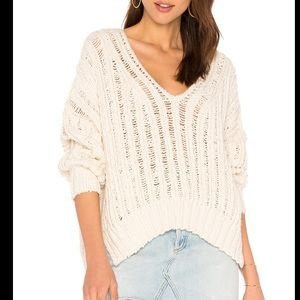 NEW Free People Infinite V Neck Sweater Ivory XS/S